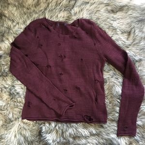 Distressed sheer knit sweater